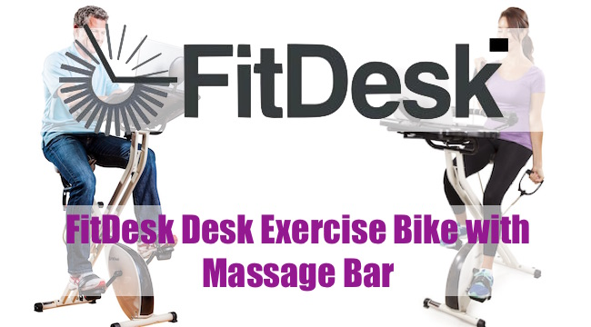 FitDesk Desk Exercise Bike with Massage Bar